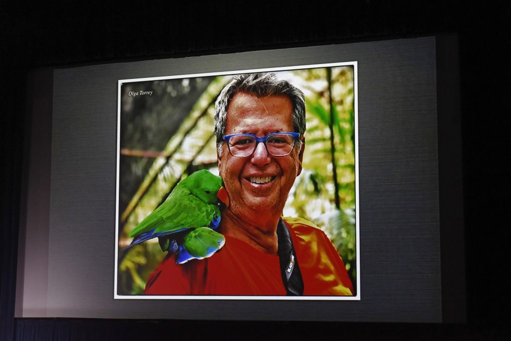 Larry Cohen with forest friend in Papua New Guinea from his presentation at the Long Island Divers Associaton Film Festival 2019